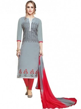 Aasvaa Grey Color Glace Cotton Designer Salwar Suit