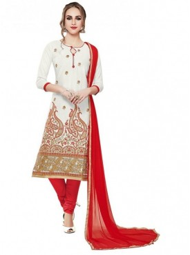 Aasvaa White Color Glace Cotton Designer Salwar Suit