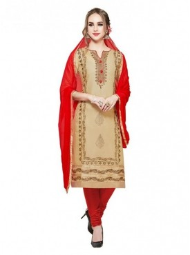 Aasvaa Chiku Color Glace Cotton Designer Salwar Suit