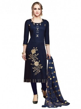 Aasvaa Blue Color Glace Cotton Designer Salwar Suit