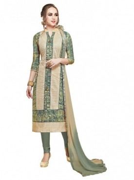 Aasvaa Beige Color Glace Cotton Designer Salwar Suit