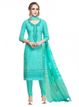 Aasvaa Sea Green Color Glace Cotton Designer Salwar Suit