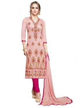 Aasvaa Light Pink Color Glace Cotton Designer Salwar Suit