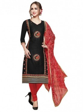 Aasvaa Black Color Glace Cotton Designer Salwar Suit