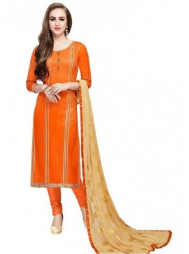 Aasvaa Orange Color Glace Cotton Designer Salwar Suit