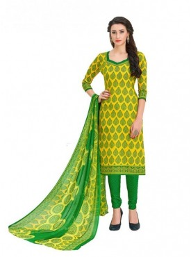 Viva N Diva Yellow Colored Cotton Printed Salwar Suit