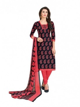 Viva N Diva Black Colored Cotton Printed Salwar Suit