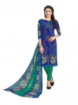 Viva N Diva Royal Blue Colored Cotton Printed Salwar Suit