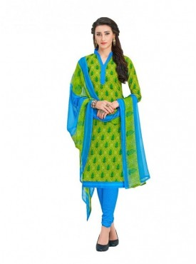 Viva N Diva Green Colored Cotton Printed Salwar Suit