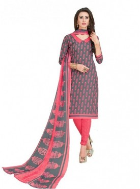 Viva N Diva Grey & Light Pink Colored Cotton Printed Salwar Suit