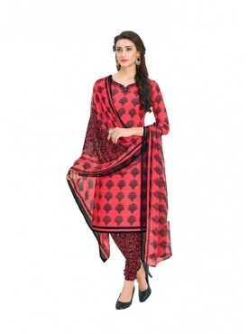 Viva N Diva Red Colored Cotton Printed Salwar Suit