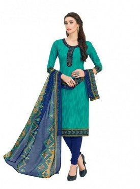 Viva N Diva Sea Green Colored Cotton Printed Salwar Suit