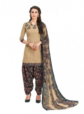 Viva N Diva Beige Colored Cotton Printed Salwar Suit