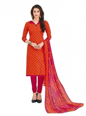 Viva N Diva Orange Colored Cotton Printed Salwar Suit