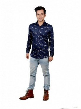 Vida Loca Men Printed Casual Satin and Cotton Blue Color Shirt