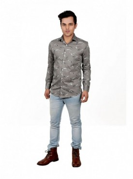 Vida Loca Men Printed Casual Cotton-Satin Grey Color Shirt