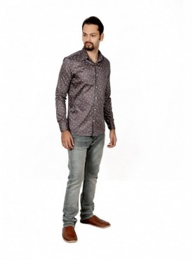 Vida Loca Men Printed Casual Cotton-Satin Dark Brown Color Shirt