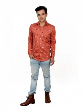 Vida Loca Men Printed Casual Cotton-Satin Orange Color Shirt
