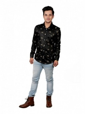 Vida Loca Men Printed Casual Cotton-Satin Black Color Shirt