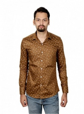 Vida Loca Men Printed Casual Cotton-Satin Brown Color Shirt