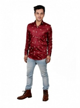 Vida Loca Men Printed Casual Cotton-Satin Dark Red Color Shirt