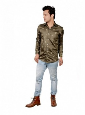 Vida Loca Men Printed Casual Cotton-Satin Olive Green Color Shirt