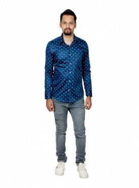 Vida Loca Men Printed Casual Cotton-Satin Blue Color Shirt