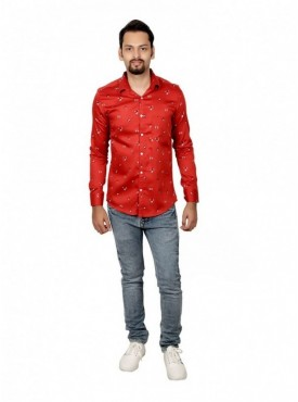 Vida Loca Men Printed Casual Cotton-Satin Red Color Shirt
