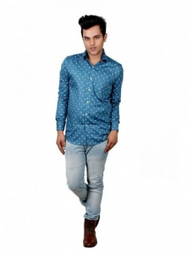 Vida Loca Men Printed Casual Cotton-Satin Sky Blue Color Shirt