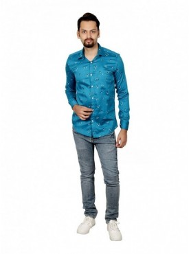 Vida Loca Men Printed Casual Cotton-Satin Turquoise Color Shirt