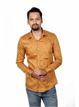 Vida Loca Men Printed Casual Cotton-Satin Yellow Color Shirt