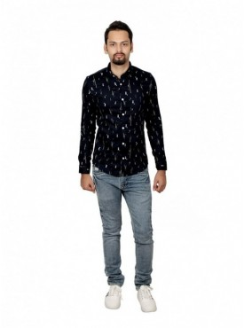 Vida Loca Men Printed Casual Cotton-Satin Dark Blue Color Shirt